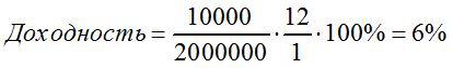пример 1 расчета доходности